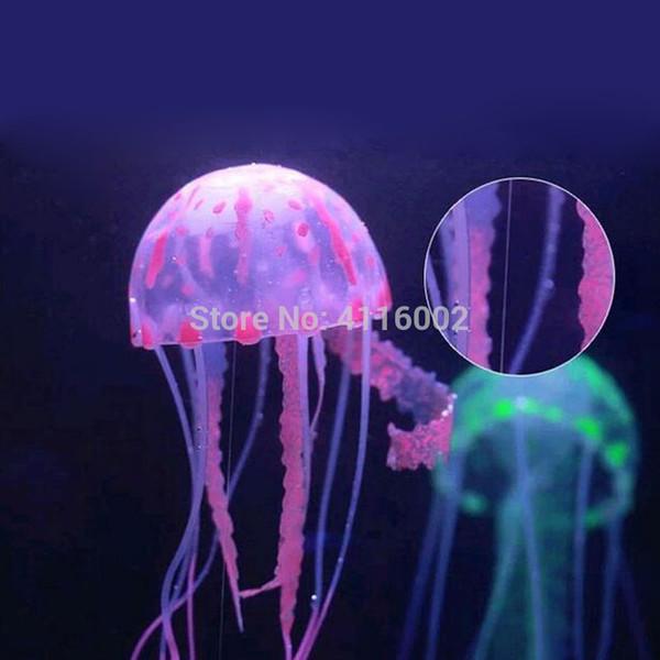 Chaud 100 pcs Effet Glowing Artificielle Méduse Fish Tank Aquarium Décoration Mini Sous-Marin Ornement Sous-Marin Pet Decor