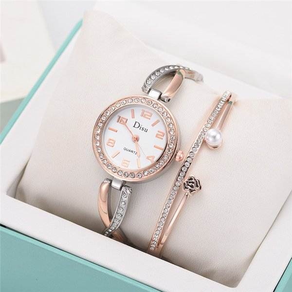 Womens Watches Top Brand Luxury Lady Temperament Watch Rose Pearl Bracelet Set Chain Watch Montres Femmes 2019 Birthday Gift