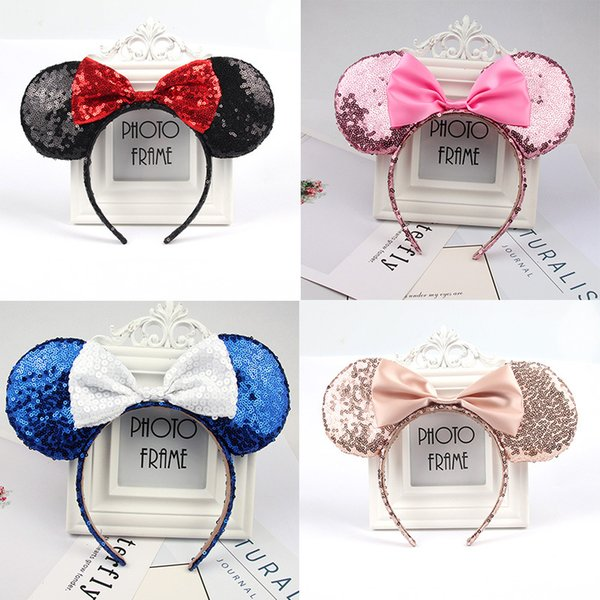 2019 new sequins big bow hair accessories baby mouse ear shape holiday dress up children's headband DC201