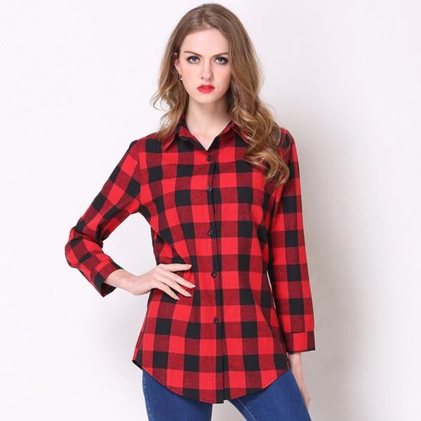 Camicie a quadri da donna Camicia a maniche lunghe a maniche lunghe a maniche lunghe morbide Camicie pendolari casual da donna