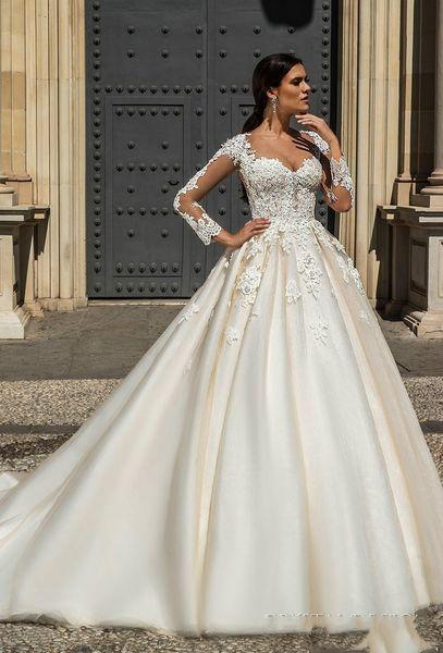 Vestidos De Noiva 2018 Designer Stunning Wedding Dresses with Sheer Long Sleeves Lace Appliqued Peals Chapel Train Bridal Gowns Custom