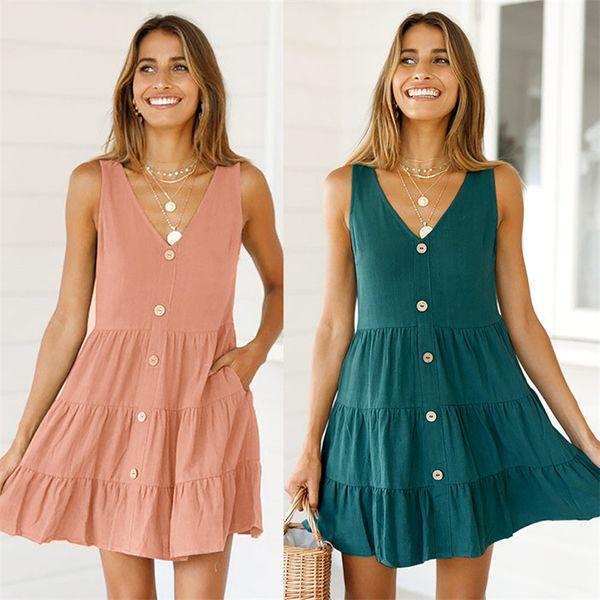 2019 Summer dresses Europe American Dress Fall Women Skirt Casual Dresses Ladies Button Pocket V Neck Ties Sleeveless One-piece Dress