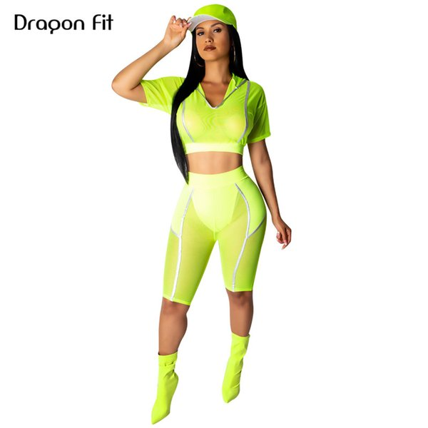 Dragon Fit Hooded Athletic Suits For Women Two Piece Fluorescent Tracksuit Short Sleeve Top and Knee Length leggings Running Set