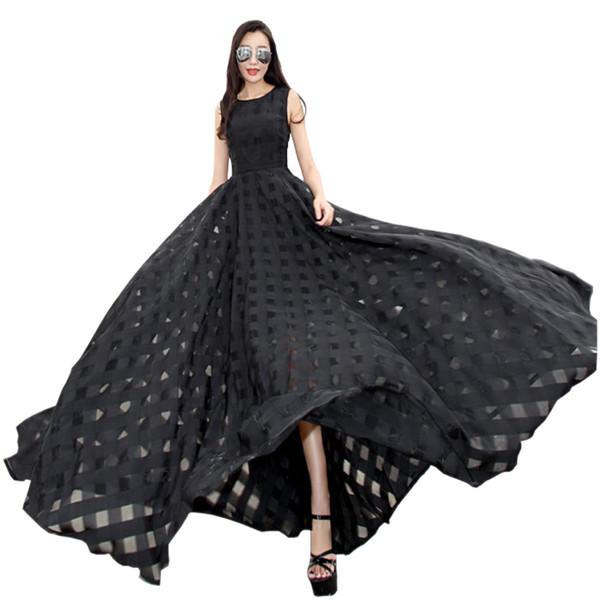 best selling 2019 New Womens Summer Dress Elegant Vintage Black White Organza Sleeveless Casual Long Maxi Dress Holiday Beach Party Vestidos T5190615