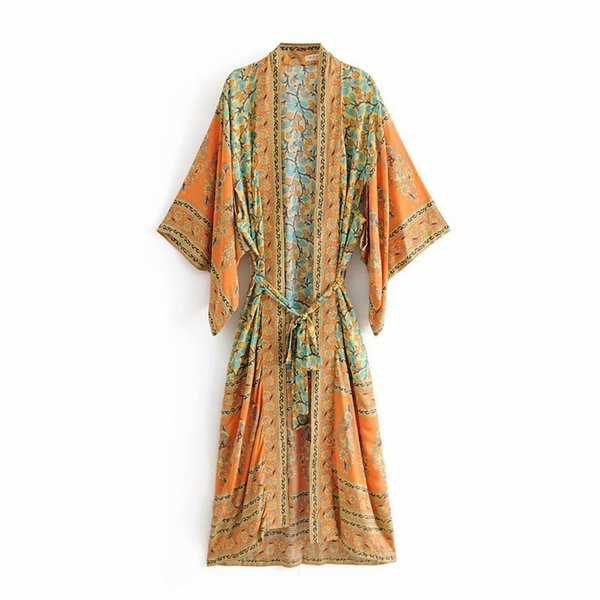 Women Summer Beach Kimonos Boho Chic Floral Print Belted Bat Sleeves Female Robes Kimono Cardigan Bohemian Sundress