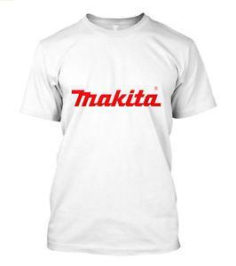 Nova Makita Power Tools Logo T-Shirt Dos Homens de Manga Curta Branco Tamanho S para 5XL