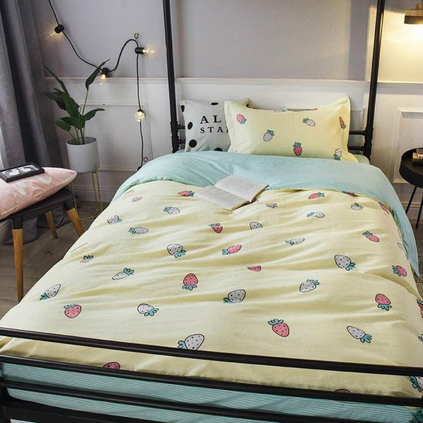 2019 ins light yellow strawberry dormitory 3pcs bedding set twin hypoallergenic cotton bedlinens duvet cover set single bed