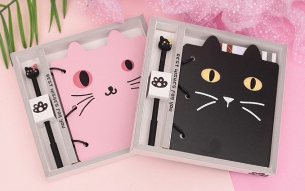 Creative student cartoon notebook Cat modeling Gift Set Notepad Cat ballpoint pen notebook set