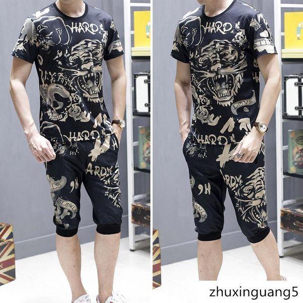 Magliette estive firmate Set manica corta tigre testa pantaloni corti T-shirt di lusso in cotone manica corta