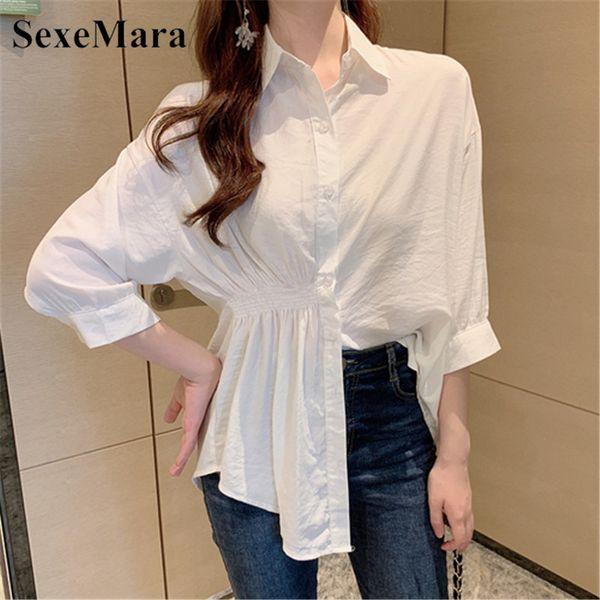 2019 été nouvelle version coréenne de la longue paragraphe sauvage 7 points manches taille lâche mince tempérament chemise blanche femmes