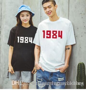 Hommes 1984 Nombres T-shirt imprimé femme Lovers T sélectionl classique T-shirts manches courtes