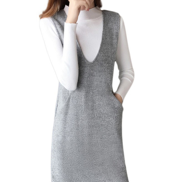 Women Casual Autumn Dress Suits Sleeveless Knitted Dress + Turtleneck Sweater Office Lady Pullovers Tops + Knitted Suits