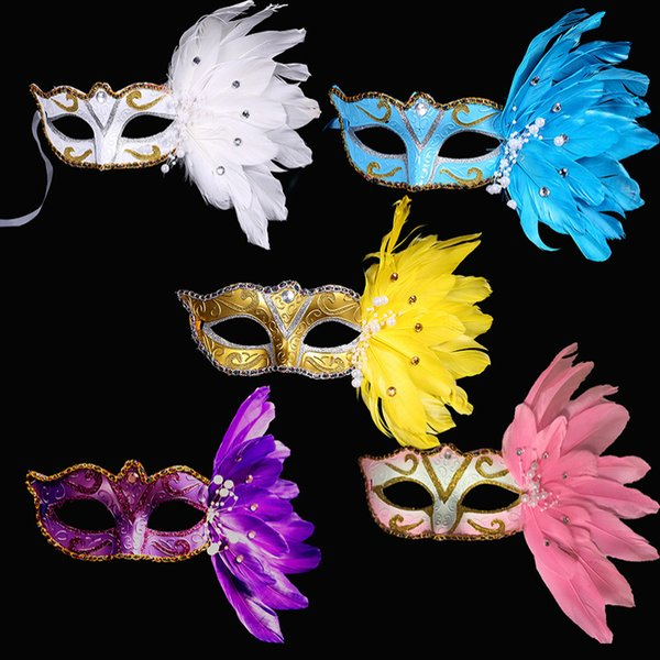Luxury Women Eye mask Cat Masquerade Ball Masks with Pearls Feather Crystal For Wedding Birthday Dance Prom Party Dresses F8203