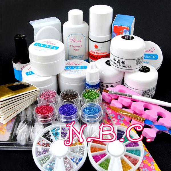 1 jogo gel acrílico poder UV Decorações Nail Art jogo de escova ferramentas de pintura profissional com caneta para Falso Nail Tips UV Gel Polish