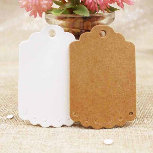 100 Unids / lote Puro árbol blanco en forma de papel de Kraft en blanco Precio para hornear Etiqueta colgante Regalo de la fiesta de bricolaje Tarjeta de deseos Marcadores decoración etiqueta