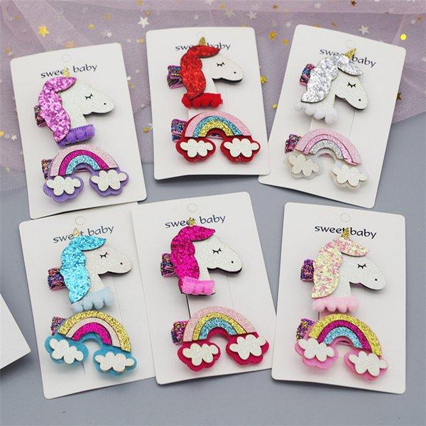 6 Colors Unicorn Baby Girls Sequin Hair Clips Rainbow Design Kids Girl Barrettes Set (2pc) For Kids Boutique Bows Children gift FJ377