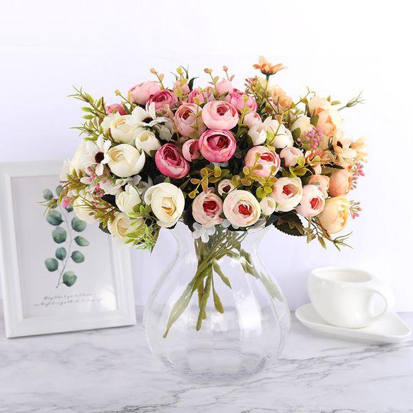 Silk DIY Daisy Camellia Artificial Flowers Small Rose Bride Bouquet Xmas Party Decor Faux Fake Flowers Wedding Home Decoration