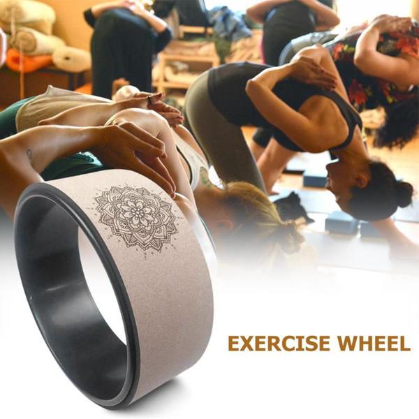 Color de madera Rueda de yoga Pilates con Buda Loto TPE profesional Yoga Círculos Gimnasio Entrenamiento Atrás Herramienta de entrenamiento para acondicionamiento físico