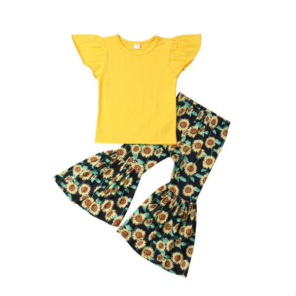 Новая Мода Малышей Baby Girl Girl Fly Рукава Топы + Подсолнечника Печатные Свободные Брюки Летняя Одежда Набор