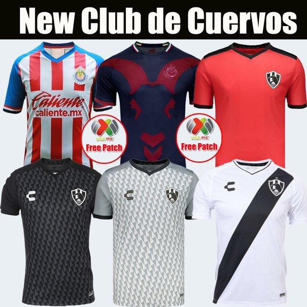 Yeni 2019 2020 Club de Cuervos Futbol Formaları 19/20 Ev Beyaz Uzakta Siyah Üçüncü GK Kırmızı Futbol Gömlek Tayland Kalite Jersey Kiti
