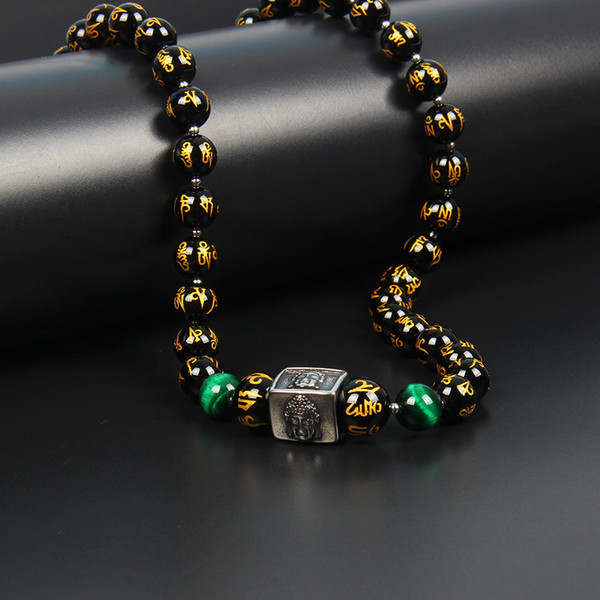 New Design Tibetan Jewelry Om Mani Padme Hum Stailess Steel Buddha Necklace with 8mm Natural Gold Words Black Onyx Stone Beads