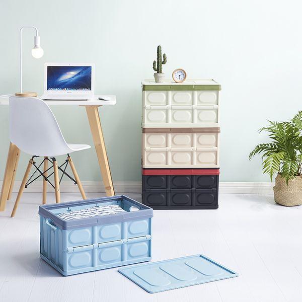 Plastic with lid collapsible storage box organizer box bed bottom clothing storage box car organizador storage basket
