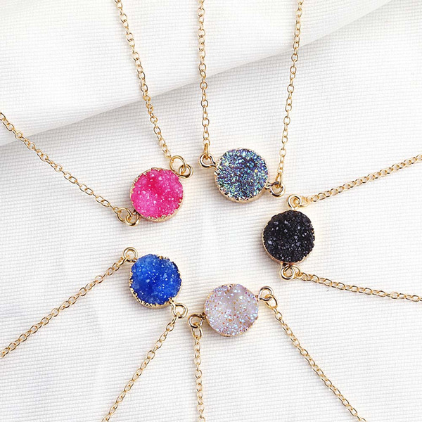 best selling New Design Resin Stone Druzy Necklaces 5 Colors Gold Plated Geometry Stone Pendant Necklace For Elegant Women Girls Fashion Jewelry