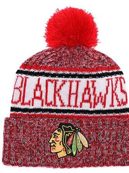 BLACKHAWKS Ice Hockey Knit Beanies Embroidery Adjustable Hat Embroidered Snapback Caps Orange White Black Stitched Hat One Size 00
