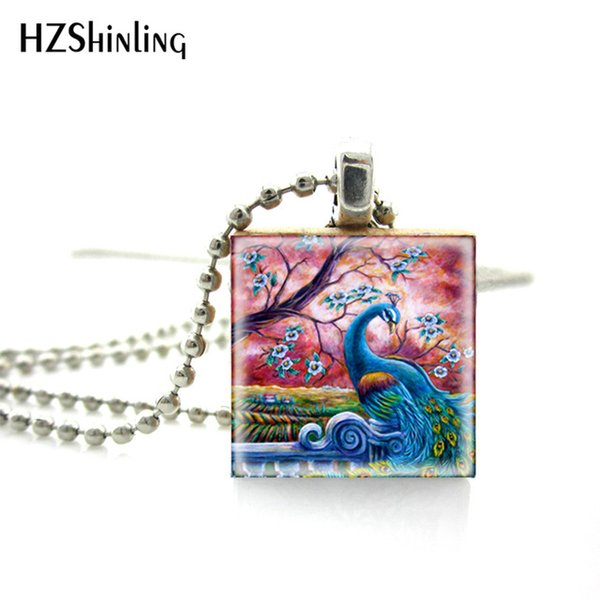 Beautiful and Proud Peacock Painting Scrabble Art Pendant Hand Craft Wooden Scrabble Game Tiles Necklace Jewelry