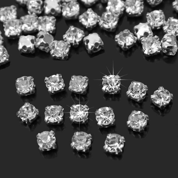 200Pcs Shiny Sparkle Crystal Clear Strass Sew on Rhinestone Stones for Clothes Dress Handbag Sewing Rhinestone Decoration DIY free shipping
