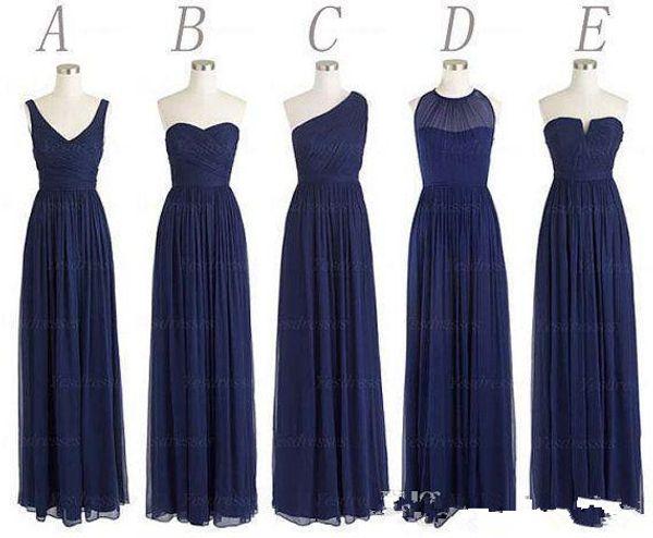 Compre Por Encargo 5 Estilos Vestidos Largos Para Dama De Honor Una Línea Volver Cremallera Longitud Del Piso Azul Marino Gasa Con Pliegues Vestido De