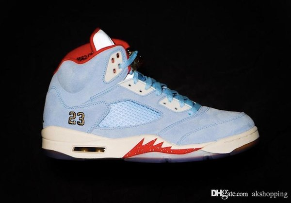 2019 Newest Trophy Room x Authentic Air 5 JSP Ice Blue Sail-Metallic Gold-University Red 51Jordan Men Basketball Shoes With box