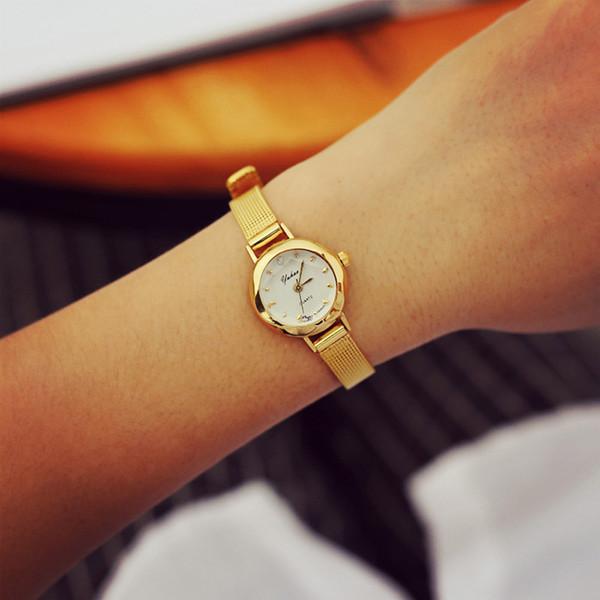 2018 moda casual relojes mujeres reloj de pulsera analógico de cuarzo dama mujer oro malla correa vestido pulsera relojes envío de la gota