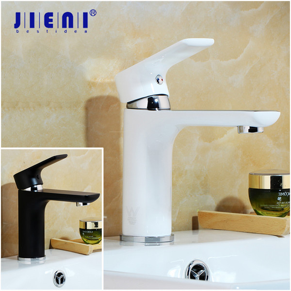 JIENI Black White Painting Solid Brass Bathroom Mixer Basin Faucet Deck Mounted Bathrom Wash Basin Mixer Tap Faucet