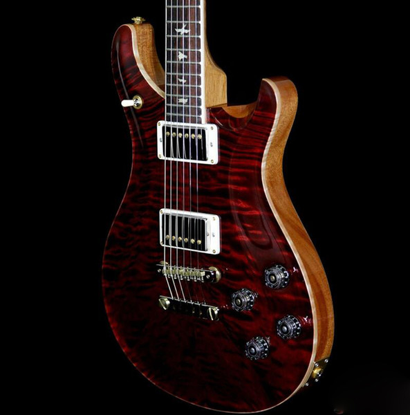 Rare Wood Library Top 10 Quilt Top McCarty 594 Guitarra Explosão Do Vinho Personalizado 22 Chama Maple Pescoço Reed Smith 24 trastes Guitarra Elétrica