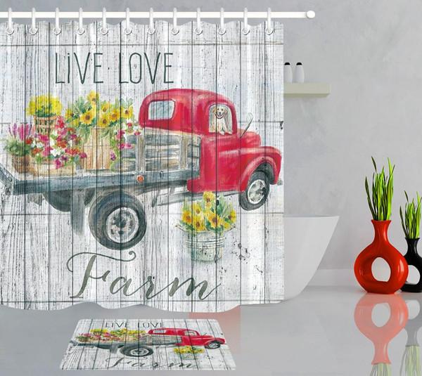 Camion rouge voiture avec des fleurs peint à la main Douche Aquarelle Rideau Salle de bains Baignoire Décor Rideau Décoration d'intérieur Tissu imperméable
