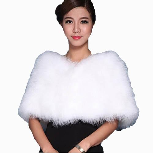 Real Ostrich Feather Fur Cape/Scarf /Poncho for Bride Wedding Party Shawl 13 Colors Fluffy Warm Women