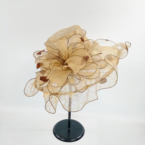 Women Vintage Organza Sun Hat Floral Ruffles Summer Beach Hat Wide Large Brim Tea Party Wedding Sun Hat Cap Sunbonnet D19011103