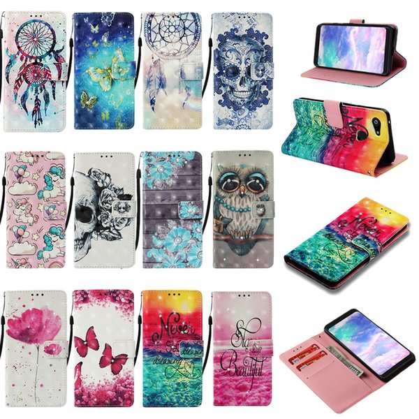 For Galaxy J4 Core (A9 A7 A750 J4 J6 Plus J3 J7 A8 J2 Pro)2018 3D Leather Wallet Case Flower Bling Diamond Skull Sea Wood Lace PU Flip Cover