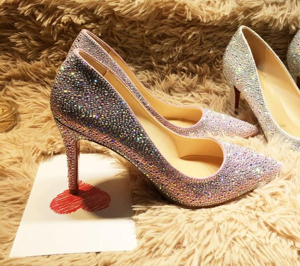 European crystal wedding shoes shallow pumps red rhinestone red bottom high heels pointed single female full diamond pointed shoes