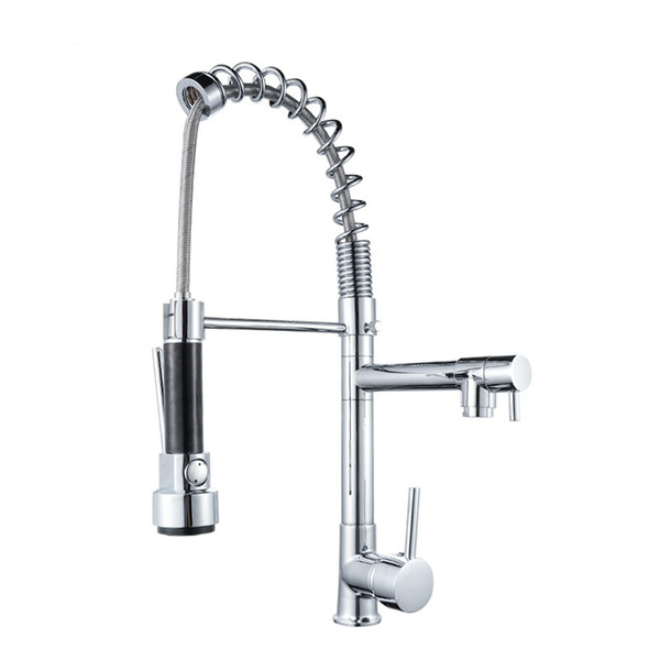 2019 Kitchen Faucet Chrome Brass Tall Kitchen Faucet Mixer Sink Pull Out  Spray Single Handle Swivel Spout Mixer Taps From Xuol, $102.24 | DHgate.Com
