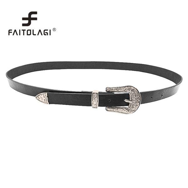 New Design Adjustable Female Belts For Women Punk Metal Double Buckle Cummerbunds Pu Leather Women'S Belts For Jeans