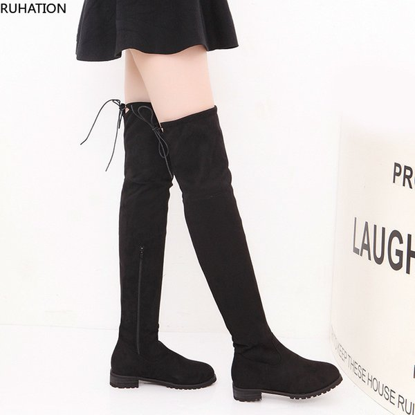 women's long boots fashion casual over the knee pull on slouchy zipper clousure flat low block heel shoes flock all weather, Black