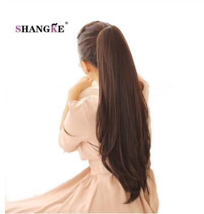 24 '' Color puro Largo y recto Cola de caballo Garra Cordón Cola de caballo Sintético Clip resistente al calor en extensiones de cabello
