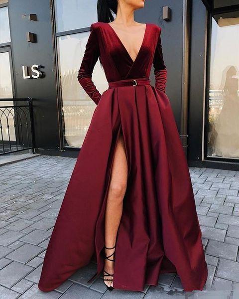 2019 New Arrival Long Sleeves Evening Dresses Velvet V-neck Winter Women Formal Gowns Burgundy Satin Party Dress Side Slit