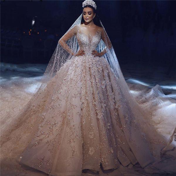꽃 아플리케 레이스 크리스탈 빈티지 채플 웨딩 드레스 맞춤 제작 럭셔리 아이보리 롱 슬리브 웨딩 드레스를