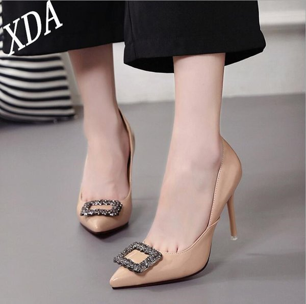 Dress Shoes Xda 2019 Women Pointed Toe Pumps Patent Leather Dress High Heels Boat Wedding Contracted High Heels W45