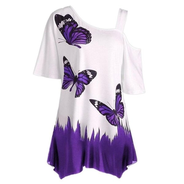 2019 Large Size Women Butterfly Printing blouse Fashion Summer Short Sleeve Off Shoulder Casual Loose Tee Tops Woman Clothes