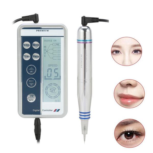 Top Grade Permanent Maquillage Stylo Numérique Professionnel Sourcil Lèvre Eyeliner Machine De Tatouage Set + Microblading Cartouche Aiguilles