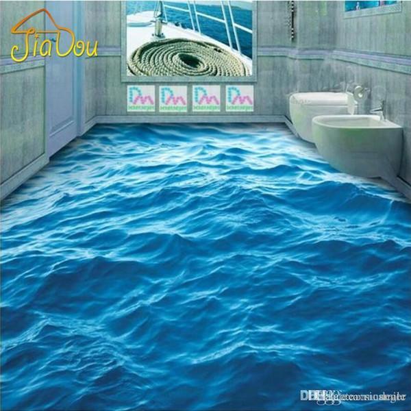 Papel tapiz de piso de foto personalizado Ondas de piso estereoscópicas 3D Papel tapiz de PVC Sala de estar Baño Baño Piso autoadhesivo